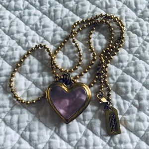 Coach Pink Heart Necklace